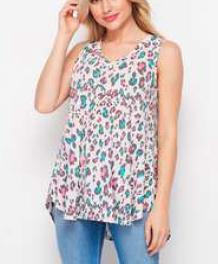 Sleeveless Round Neck Pastel Neon Leopard Top