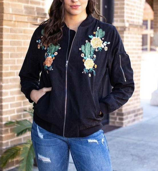 Long Sleeve Solid Bomber Jacket with Embroidery Detail