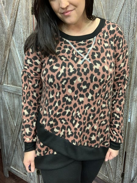 Long Sleeve Leopard Top with Wrap Hem Detail