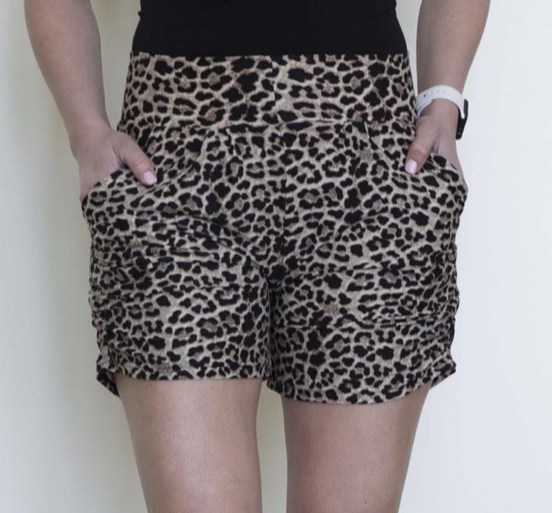 Leggings Material Tan Leopard Harem Shorts