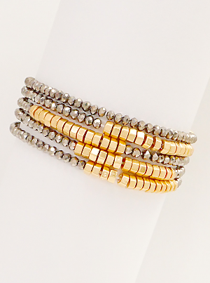 Glass Metal Beaded Fashion 5 Stretch Bracelets