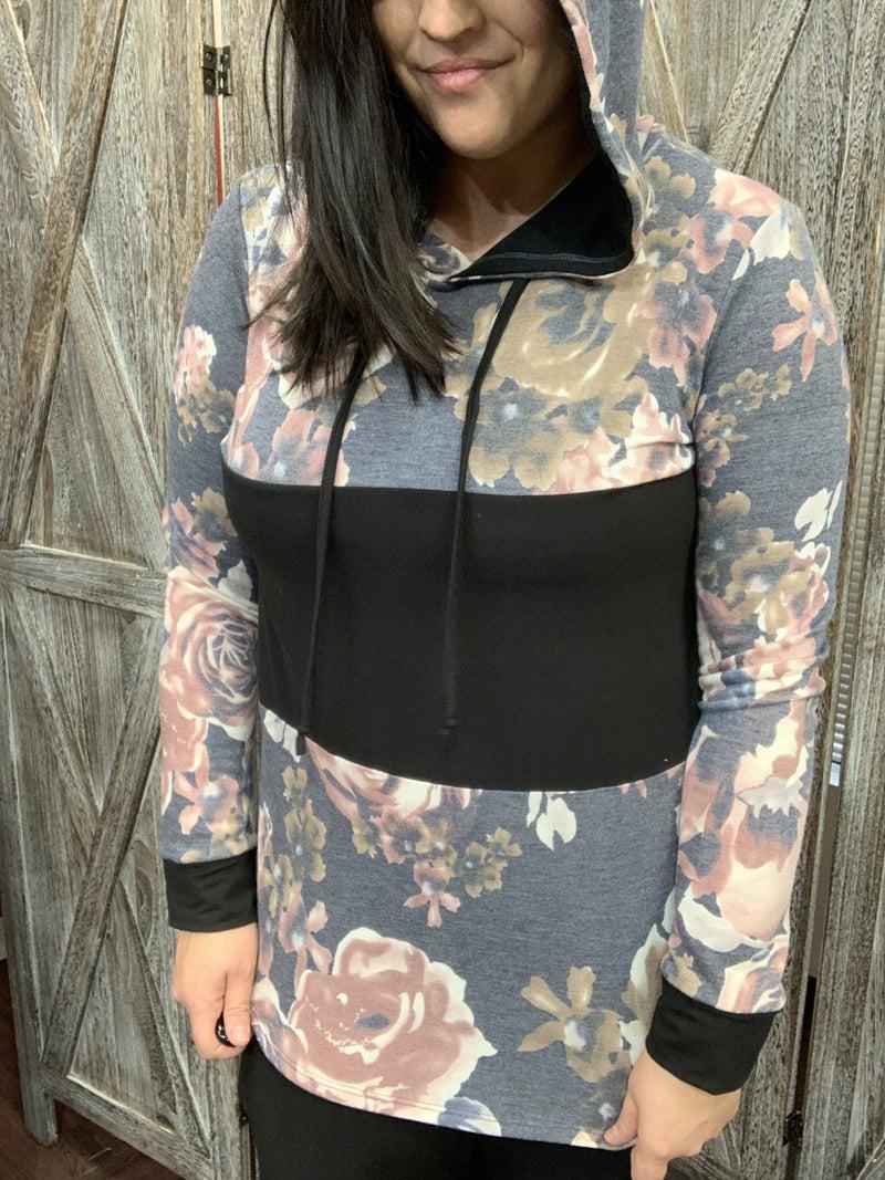 Long Sleeve Rose Hoodie Top with Solid Detail