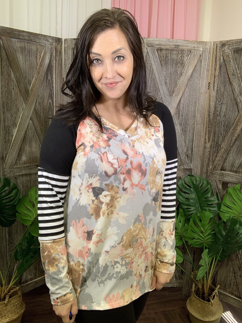Long Sleeve V Neck Floral Top with Stripe and Solid Detail