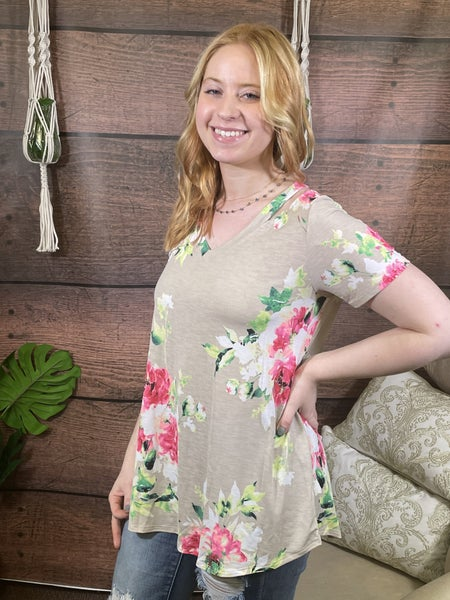 Short Sleeve V Neck Floral Top with Cutout Detail