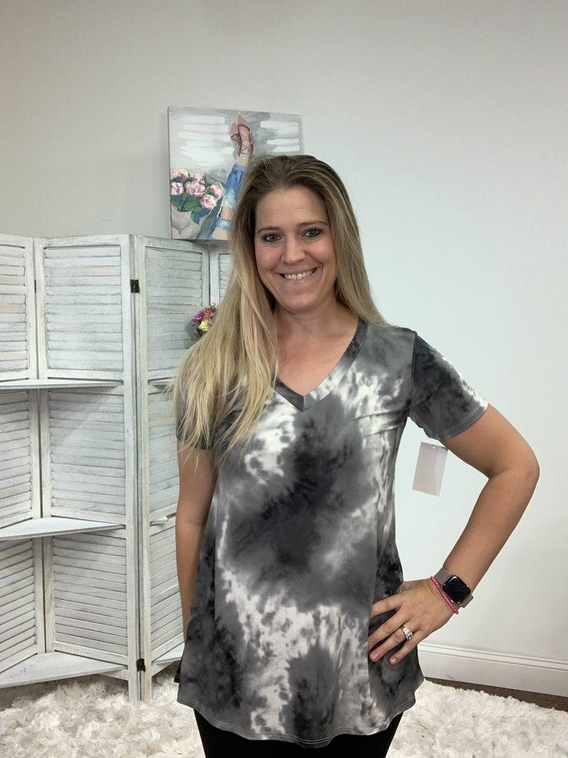Short Sleeve V Neck Grey Tie Dye Print Top