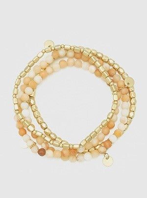 Semiprecious Natural Stone With Metal Bead Multilayer Stretch Stackable Bracelet