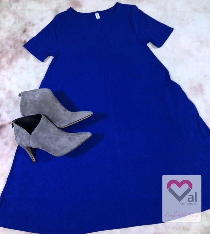 Short Sleeve Swing Dress with Pockets