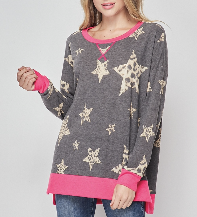 Long Sleeve Leopard Star Print Top with Solid Trim Detail