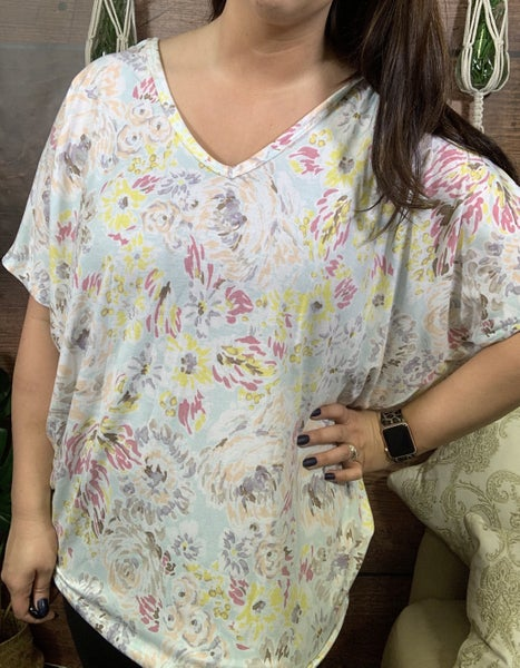 Short Dolman Sleeve Floral Top with Lace Detail