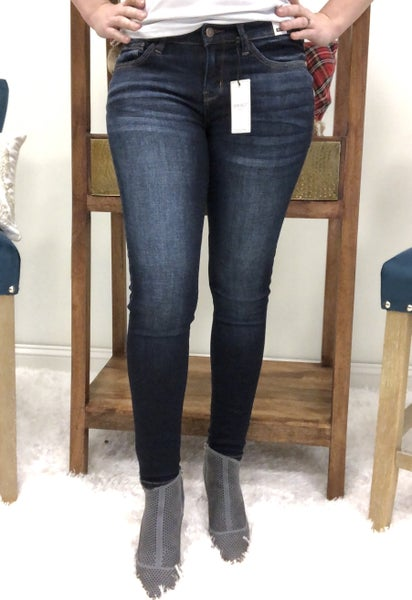 Judy Blue Dark Wash Mid Rise Handsand Resin Skinny Jeans
