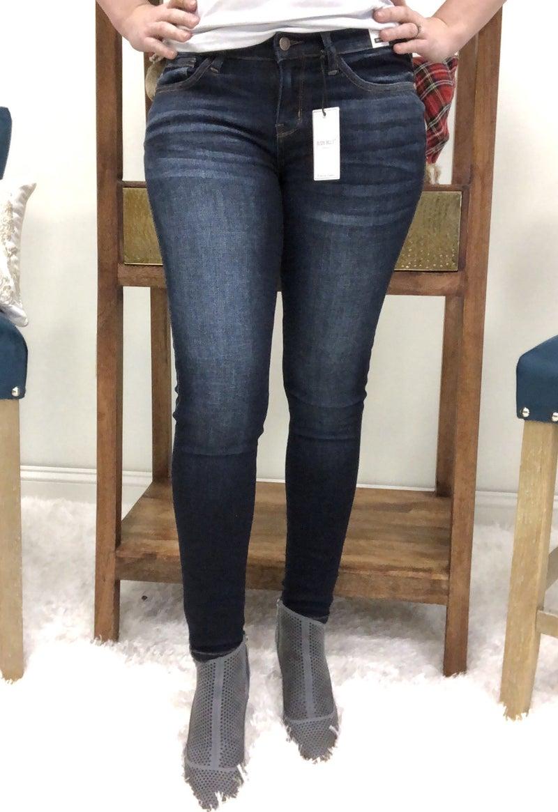 Judy Blue Dark Wash Mid Rise Handsand Resin Skinny Jeans