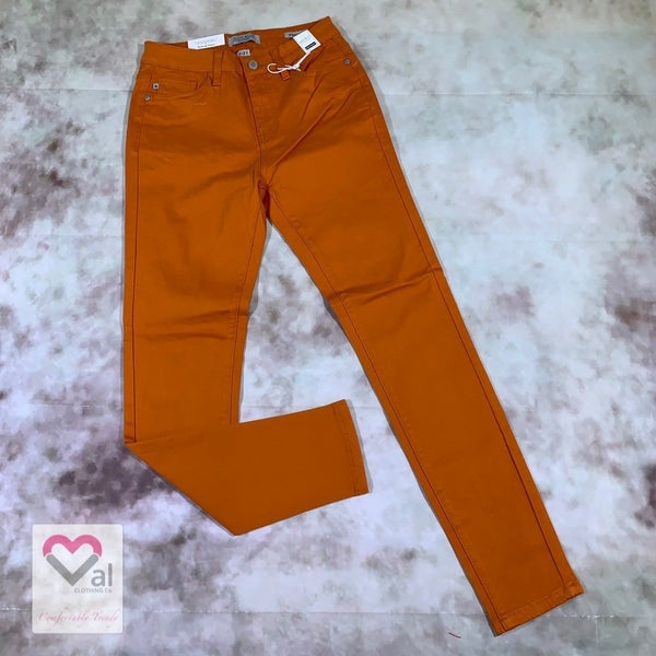 Judy Blue High Waist Solid Orange Skinny Jeans