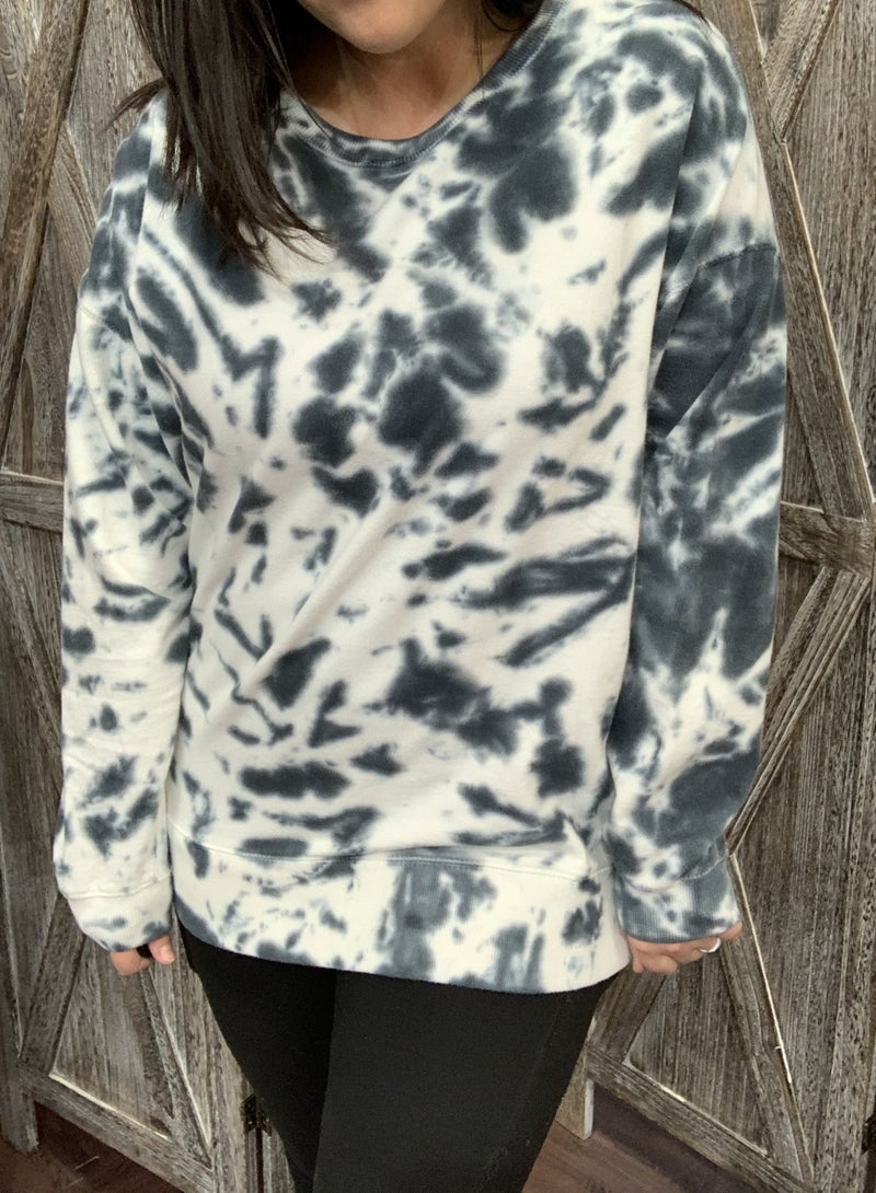Long Sleeve Tie Dye Dalmatian Print Top