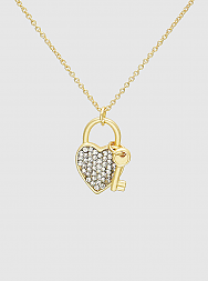 Crystal Pave Love Lock Key Pendant Delicate Necklace