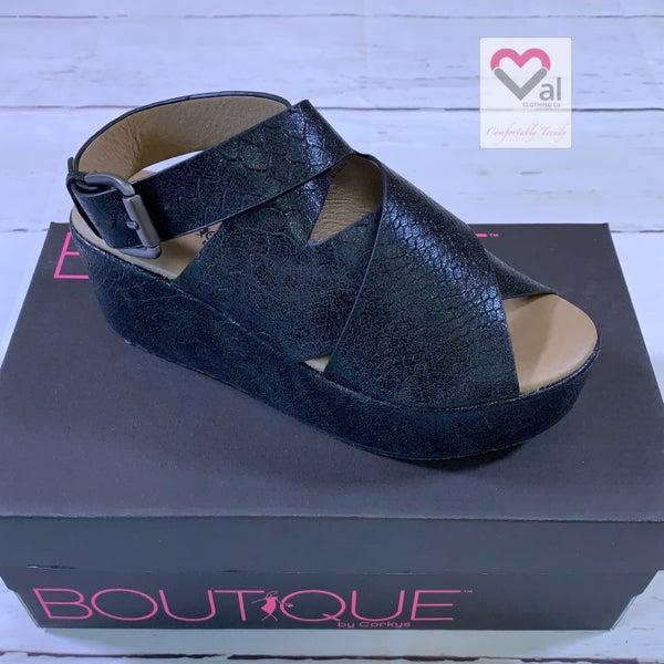 Corkys Marseille Black Platform Sandals