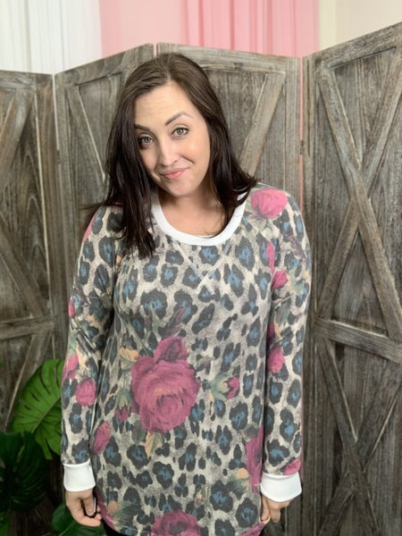Long Sleeve Leopard Floral Print Top with Trim Detail