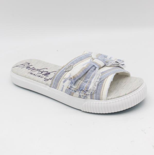 Blowfish Fondue Slide Shoe in Blue Windward Linen