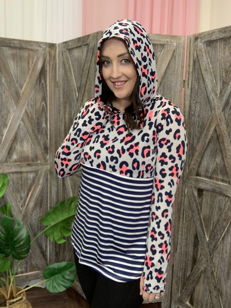 Long Sleeve Neon Leopard and Stripe Hoodie Top