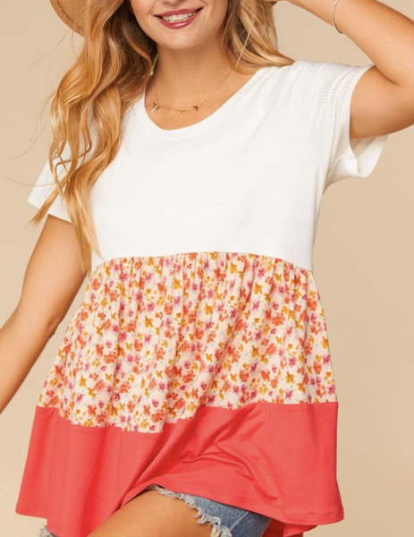 Short Sleeve Colorblock Floral & Solid Top