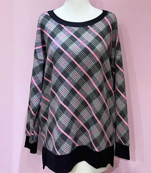 Long Sleeve Pink Plaid Print Top with Solid Trim Detail