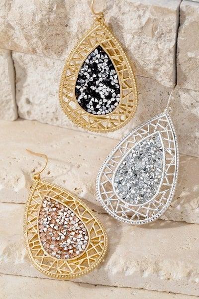 Filigree Glitter Teardrop Earrings