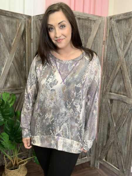 Long Sleeve Snakeskin Top with Stitch Detail