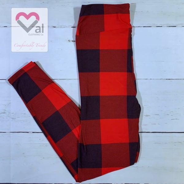 Red and Black Large Buffalo Plaid Printed Leggings