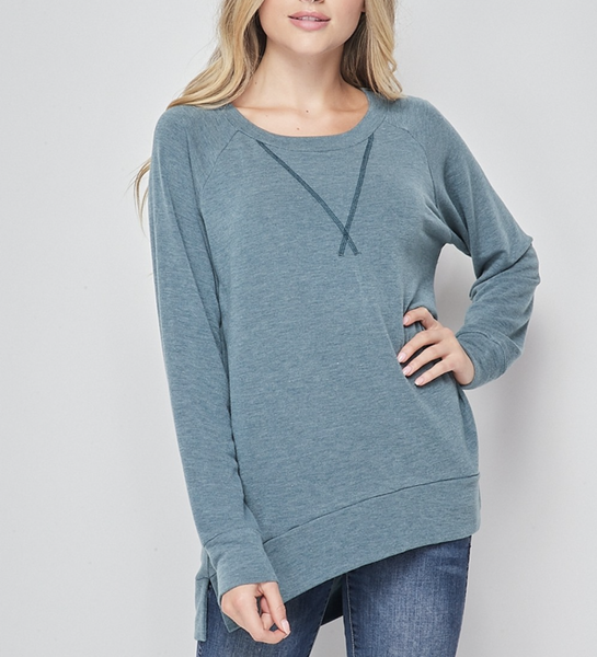 Long Sleeve Solid Top with Stitching Detail