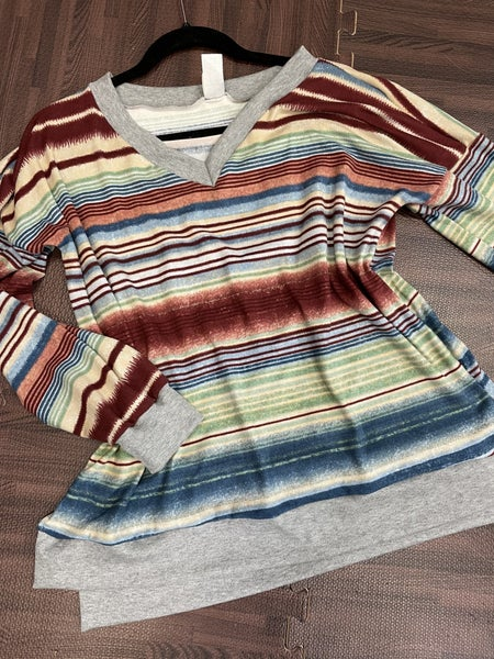 Long Sleeve Striped Top with Solid Trim Detail