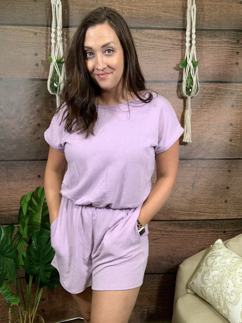 Short Sleeve Solid Romper with Back Keyhole