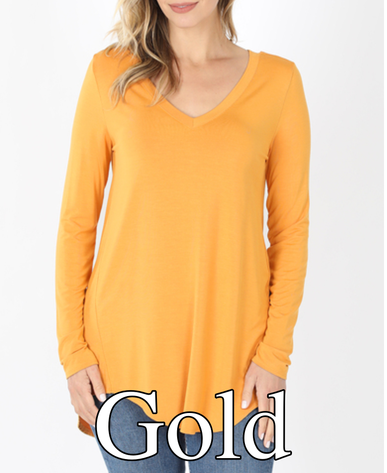 Long Sleeve V Neck Solid Top