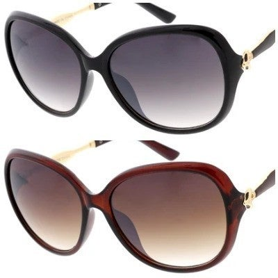 Oval Shaped Sunglasses with Gold Detail