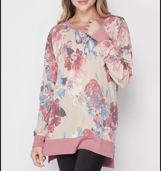 Long Sleeve Watercolor Floral Weekender Top