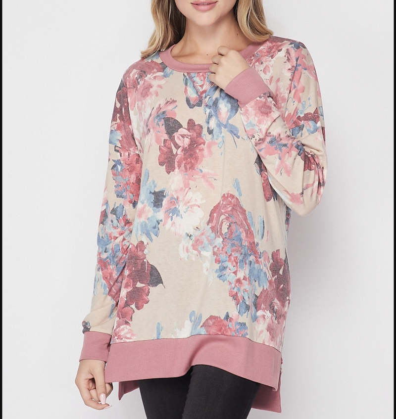 Long Sleeve Watercolor Floral Weekender Top