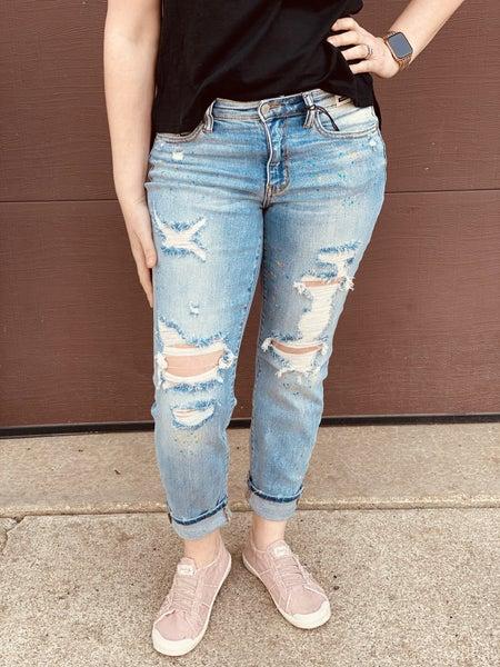 Judy Blue Paint Splash Destroyed Boyfriend Jeans