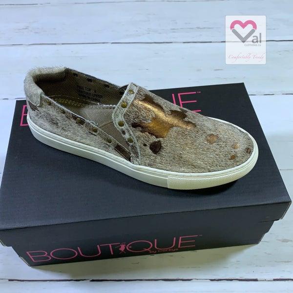 Corkys Metallic Animal Print Slide On Shoes