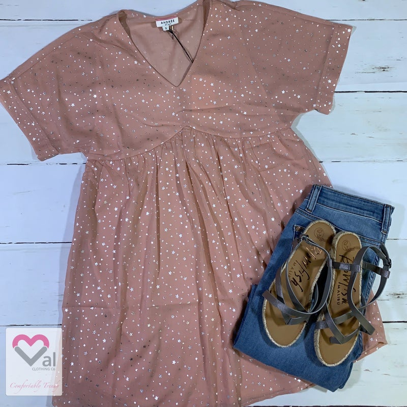 Short Sleeve V Neck Metallic Star Print Babydoll Dress