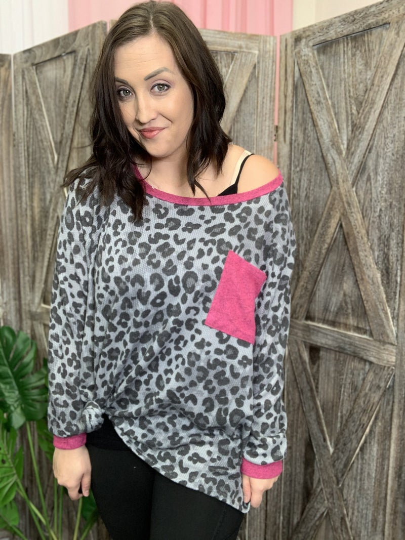Long Sleeve Leopard Print Top with Solid Contrast Detail