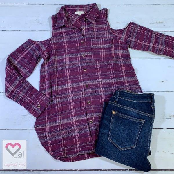 Long Sleeve Cold Shoulder Flannel Plaid Top