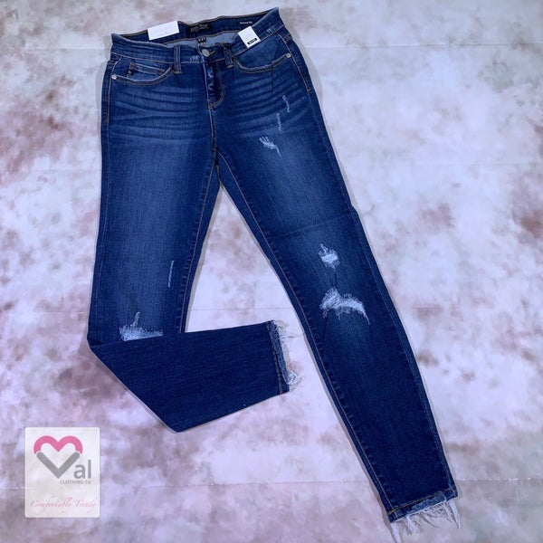 Judy Blue Mid Rise Waistband and Hem Fray Skinny Jeans