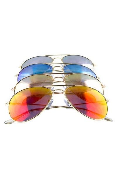 Aviator Mirrored Lens Fashion Sunglasses