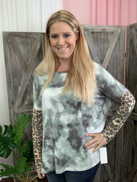 Long Leopard Sleeve Storm Tie Dye Print Top