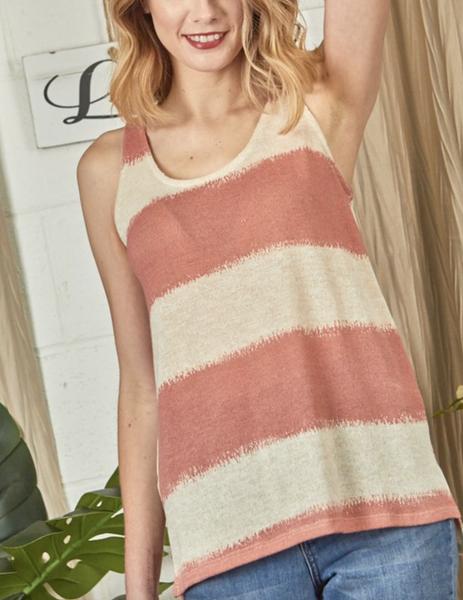 Sleeveless Round Neck Beach Stripe Print Top