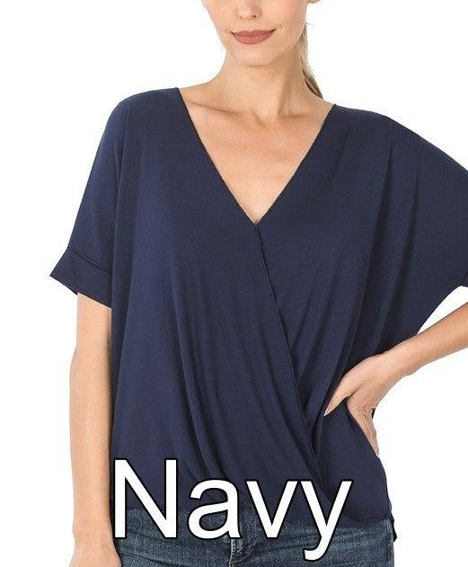 Short Sleeve V Neck Mock-Layered Solid Top