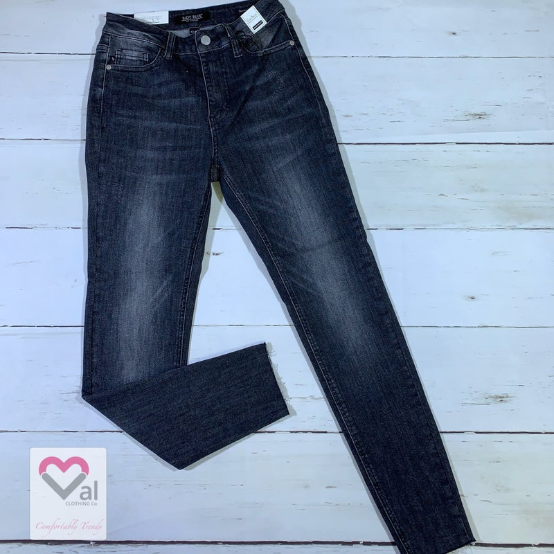 Judy Blue High Waist Raw Hem Grey Skinny Jeans