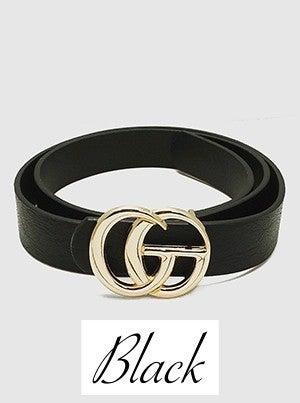 Designer Inspired Metal Buckle Leatherette Belt