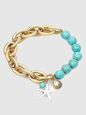 Sea Life Starfish Shell W Natural Stone Bead Metal Chain Bracelet