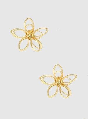Metal Wire Floral Flower Post Stud Earrings