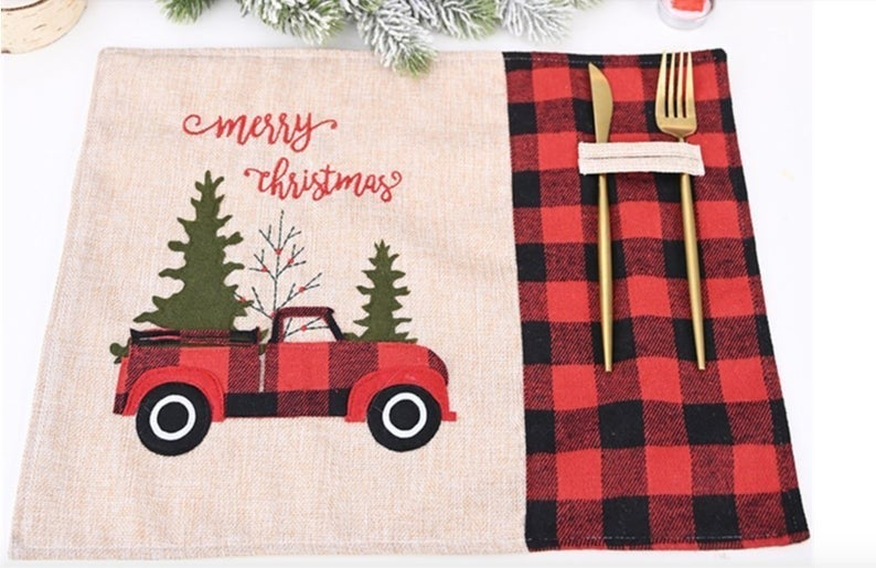Christmas Burlap Placemat with Red Buffalo Plaid Truck
