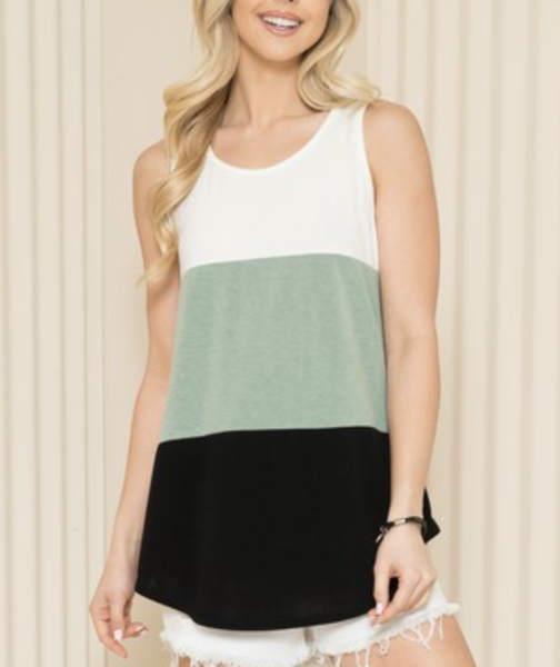 Sleeveless Solid Colorblock Top